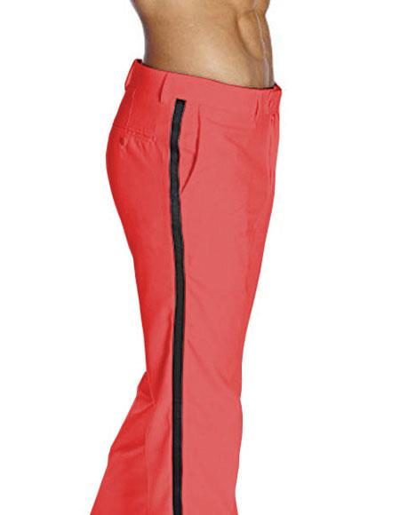 Product# JSM-4798 Men's Red Flat Front With Satin Band Classic Fit Tuxedo Pant