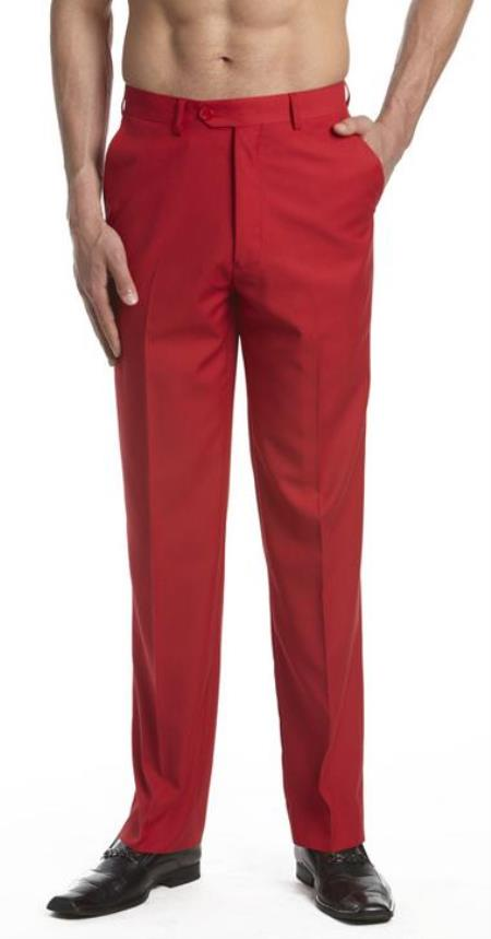 Product# AA465 Dress Pants Trousers Flat Front Slacks red color shade