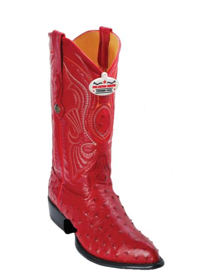 Product# U9V3 Authentic Los altos red color shade Ostrich J-Toe Cowboy Boots