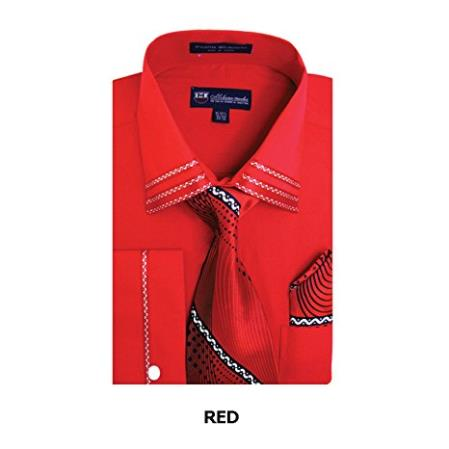 Mens Spread Collar Red