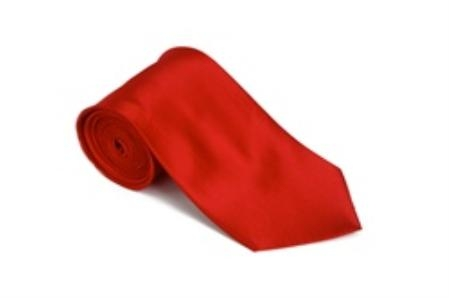 Product# KJ311 red color shade 100% Silk Solid Necktie With Handkerchief