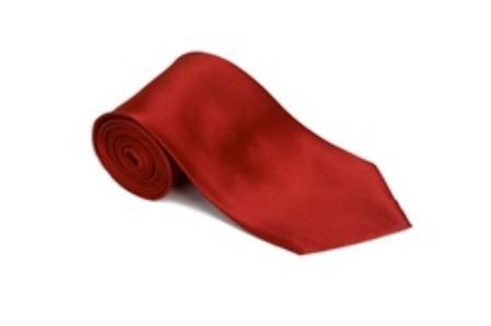 Product# CU866 Lipstickred 100% Silk Solid Necktie With Handkerchief