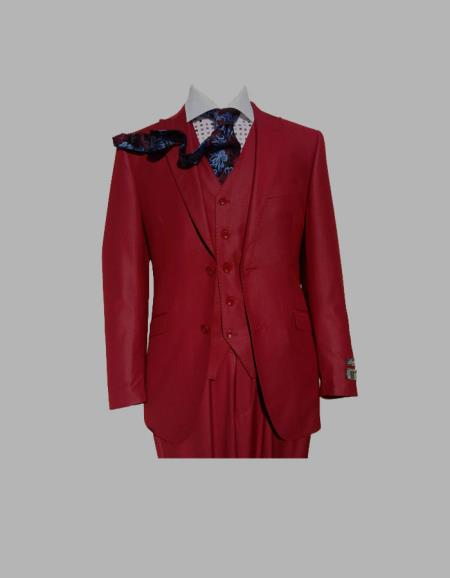 Product# SM447 Three Piece red color shade Peak Lapel Slim narrow Style Fit