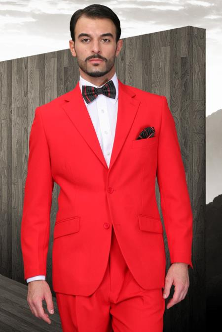 red color shade Athletic Cut Suits Classic Fit  2 Button Style Superior Fabric 120's Extra Fine 2 Piece