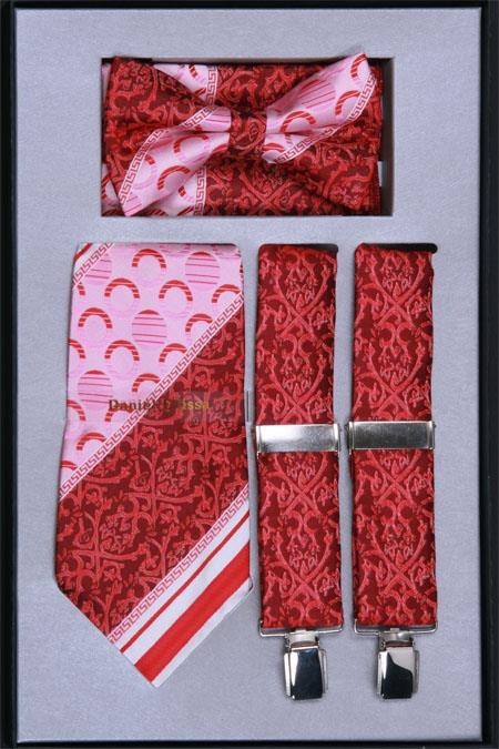 Product# VH64 Suspender, Tie, Bow Tie ~ Bowtie and Hanky Set red color shade