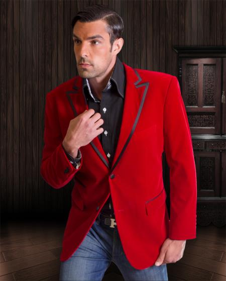 Product# RN03 Velvet Velour Blazer Online Sale Formal formal tux Jacket Sport Coat Two Tone Trimming red color shade