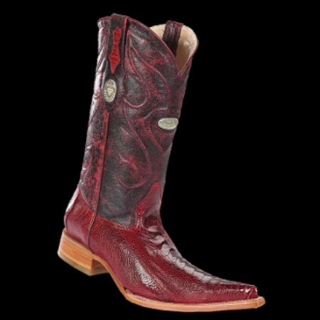 Product# KA6346 New Reg: $795 discounted Online Sale clearance diamonds Boots- Ostrich Leg red color shade 3x-Toe Cowboy Boots