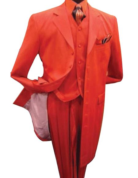 Product# TE93 Hot red color shade 3 Piece Fashion Long length Zoot Suit For sale ~ Pachuco men's Suit Perfect for Wedding + Shirt + Tie + Vest Package $165