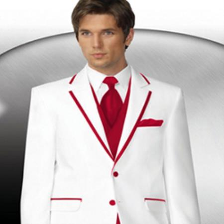 Product# PN-6 2 Button Style White Tuxedo With red color shade Trim Collar + Matching Vest & Tie & Pants