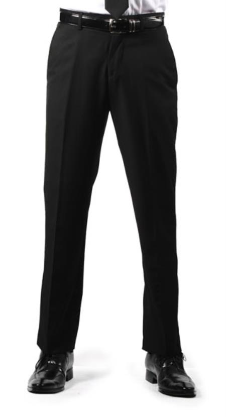 Product# RM1117 Premium Regular Fit Flat Front Dress Pants Liquid Jet Black