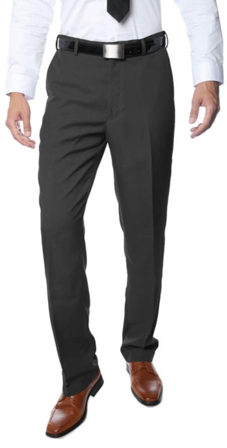 Product# RM1122 Premium Quality Regular Fit Formal & Business Flat Front Dress Pants Dark Grey Masculine color