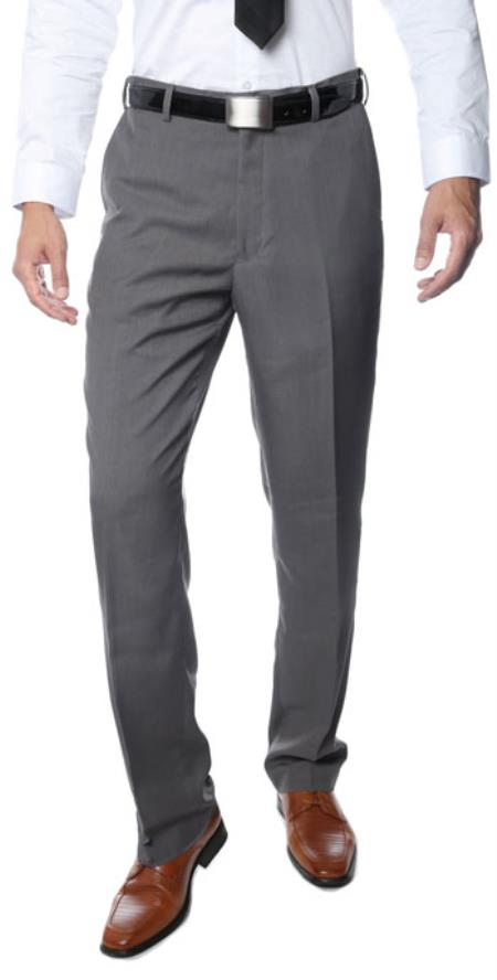 Product# RM1120 Premium Three Buttons Regular Fit Flat Front Dress Pants Grey