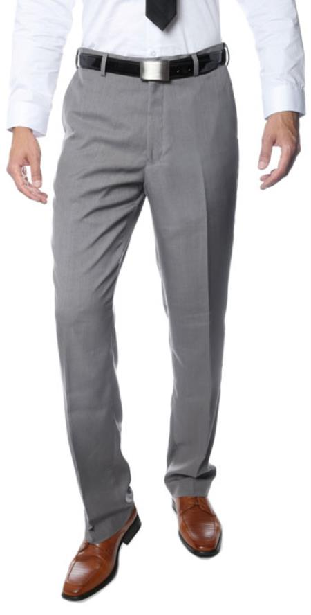 Product# RM1123 Premium Quality Regular Fit Formal & Business Flat Front Dress Pants Grey