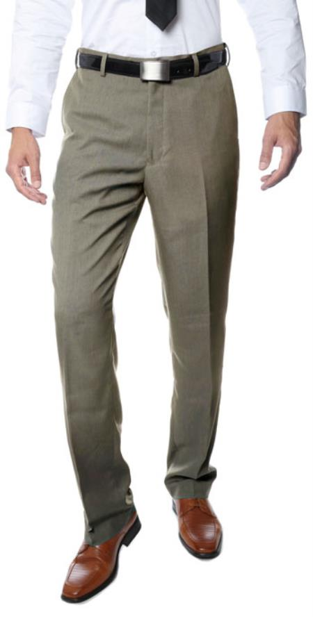 Product# RM1125 Premium Quality Regular Fit Formal & Business Flat Front Dress Pants Tan khaki Color