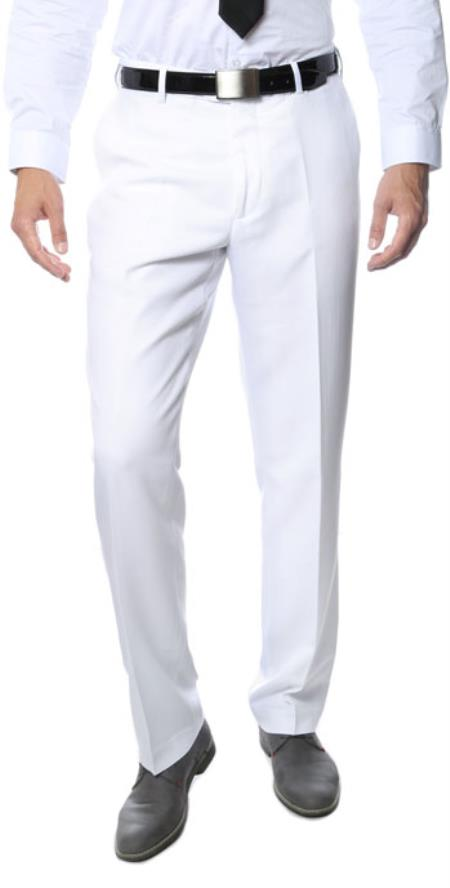 Product# RM1127 Premium Quality Regular Fit Formal & Business Flat Front Dress Pants White