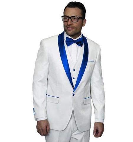 men's Royal Blue Suit For Men Perfect  1 Button Single Breasted Black Satin Lapel Tuxedo Suit Clearance Sale Online