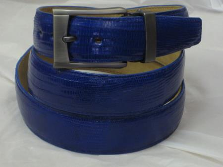 Product# AC-871 Genuine Authentic royal blue pastel color Lizard Belt