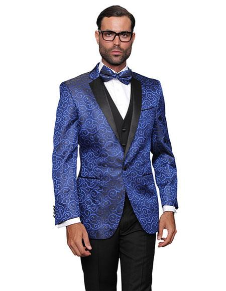 men's Royal Blue Sequin Paisley Dinner Jacket Tuxedo Looking Party Entertainer  Blazer Sport coat Two toned Black Lapel