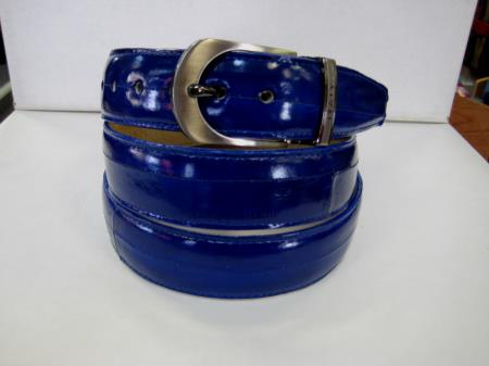 Product# KP6C Genuine Authentic royal blue pastel color Eel Belt