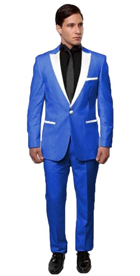 Slim Tux Royal Blue with white lapel