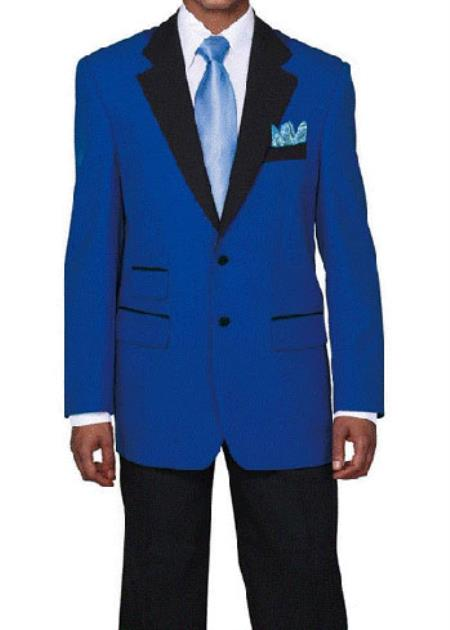Product# RM1517 Light ~ Royal Blue Suit For Men Perfect  pastel color Tuxedo with Liquid Jet Black Lapeled Dinner Jacket Suit Blazer Online Sale Sport coat