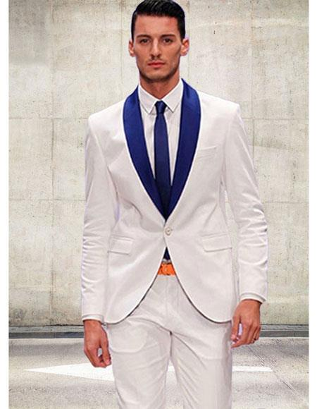 Product# AP654 White and Royal Blue Suit For Men Perfect  Shawl Lapel Tuxedo Suit