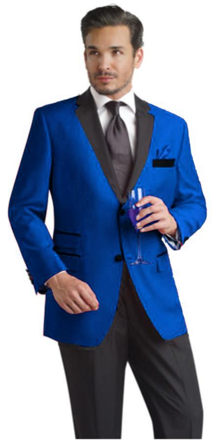 Product# RYB682 Two Toned Royal Light Blue Two Button Velvet or Suit Fabric (Your Choice) Tuxedo Suit Or Dinner Jacket Liquid Jet Black Lapeled