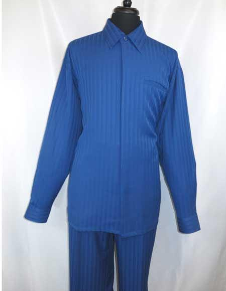 Product# JSM-975 Men's Long Sleeve Hidden Buttons Royal Blue Suit For Men Perfect  Collared Walking Shirt + Pant Set