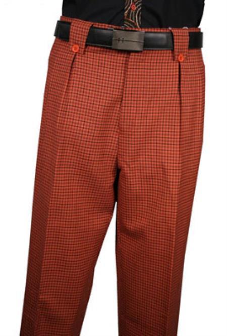 Veronesi Rust Plaid Wool Fabric Wide Leg Dress Slacks 1920s 40s Fashion Clothing Look !