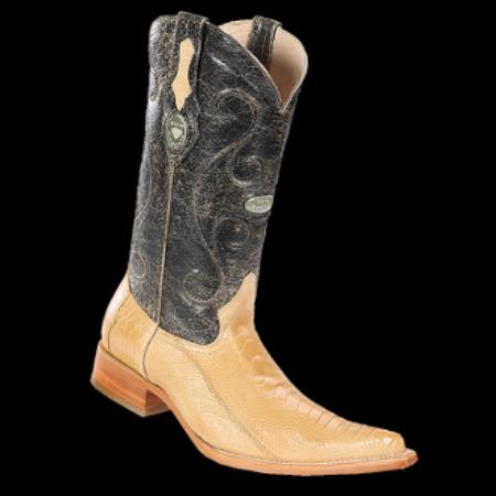 Product# KA8780 New Reg: $795 discounted Online Sale clearance diamonds Boots- Ostrich Leg Sand 3x-Toe Cowboy Boots