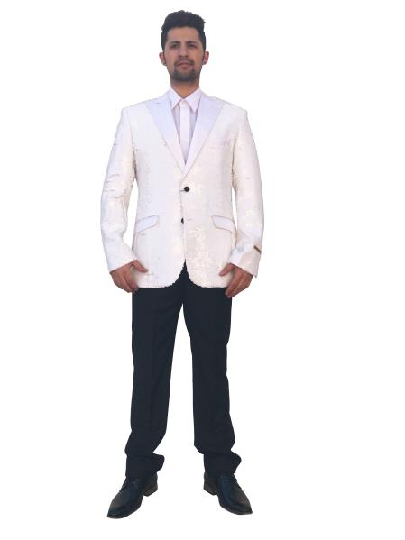 men's Unique Shiny Fashion Prom 2 Button White Single Breasted Blazer~Sport Coat Perfect For Prom Clothe - Prom Outfits For Guys