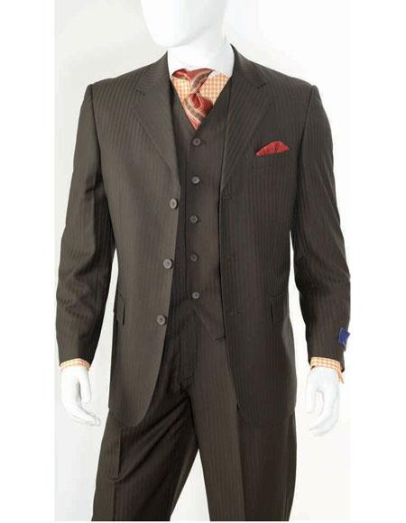 Men's Alberto Nardoni Best men's Italian Suits Brands Black Ton on Ton Shadow Stripe 3 Buttons Shadow Stripe Vested Suit 100% wool pleated pants side vented