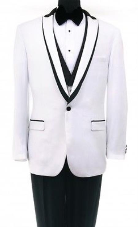 Product# SS-5RQ Tuxedo Shawl collar flat front trousers Lapeled Vest White Clearance Sale Online