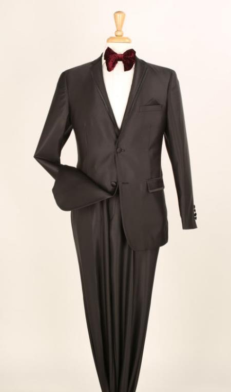 Product# KA6684 2 Piece Executive Suit -Pocket/Collar Shiny Flashy Satin Silky Metallic- Liquid Jet Black