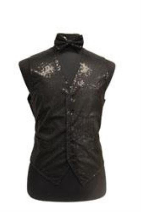 Satin Shiny Sequin Vest/bow