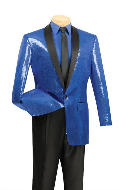 Product# AC-257 Tuxedo Satin Unique Shiny Fashion Prom Sequin Dinner Jacket Stage Blazer Online Sale Coat Shawl Collar Flashy Shiny Suit Blue