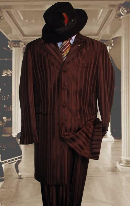 HIN2059 Shiny brown color shade And brown color shade Stripe ~ Pinstripe