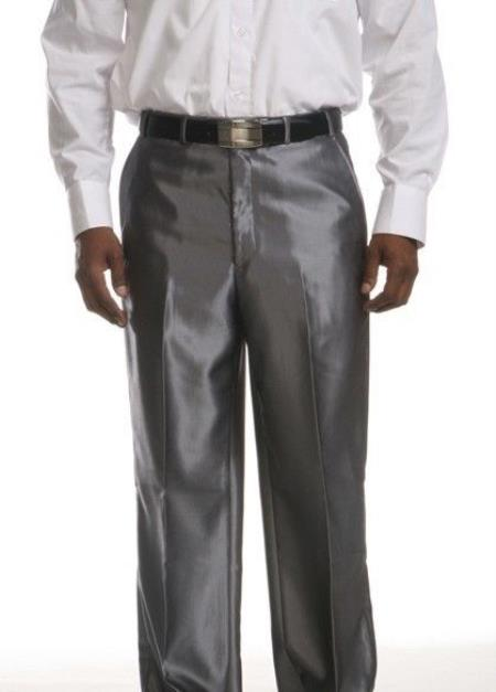 Product# UX-673 Flat Front Dress Pants Flat Front Trousers - Shinny Silver Pant