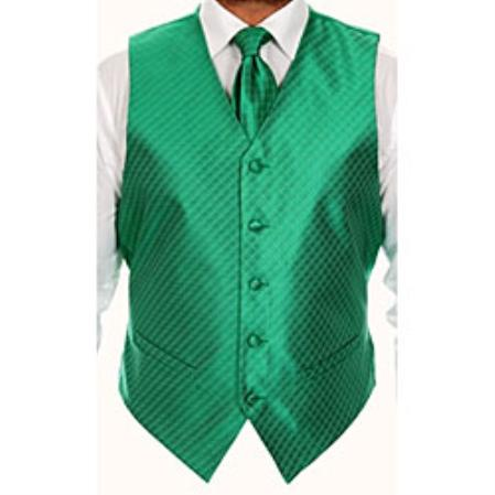 Product# KG5532 Four-piece Green Vest Set