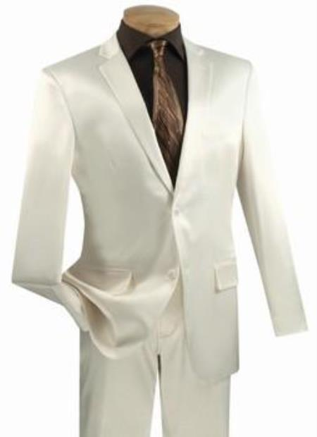KL10Z Shiny Sharkskin Metallic 2 Button Style Suits for Online Off-White