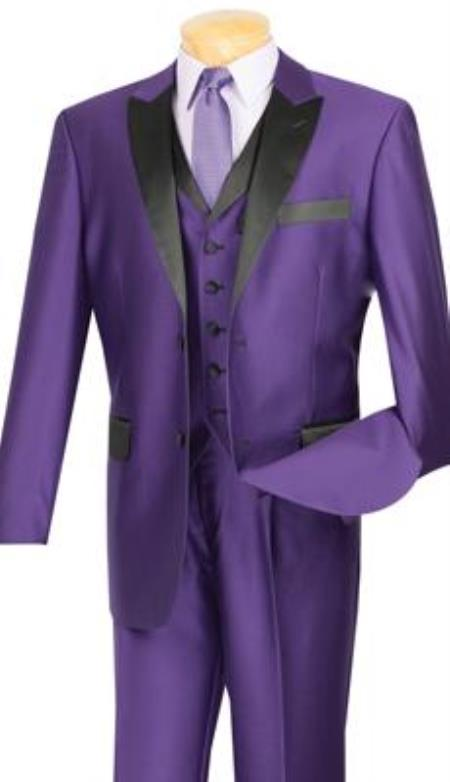 Product# AP89K Two toned Shiny Sharkskin Flashy 2 Button Style Liquid Jet Black Peak Lapeled Vested 3 Piece Suits for Online or 1920s Black and Purple Tuxedo style Purple color shade With Liquid Jet Black