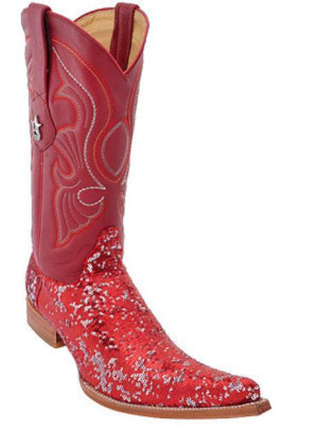 Product#KA8875 Satin Shiny Authentic Los altos Sequin Fashion Design Western Cowboy Boots red color shade 6x Toe