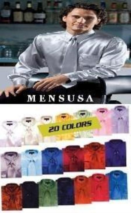 Product# WN9370 Shiny Silky Satin Dress Shirt/Tie Combo Available in All Colors