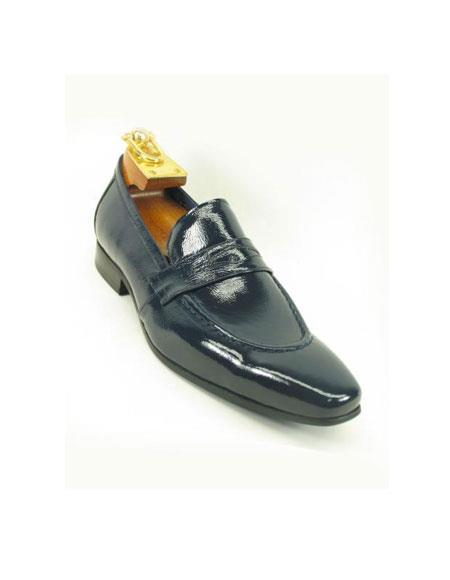 Carrucci Men's Patent Leather Slip On Style Loafer Navy Shoe