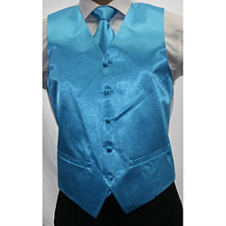 Product# VN9200 Shiny turquoise ~ Light Blue Stage Party Microfiber 3-piece Vest