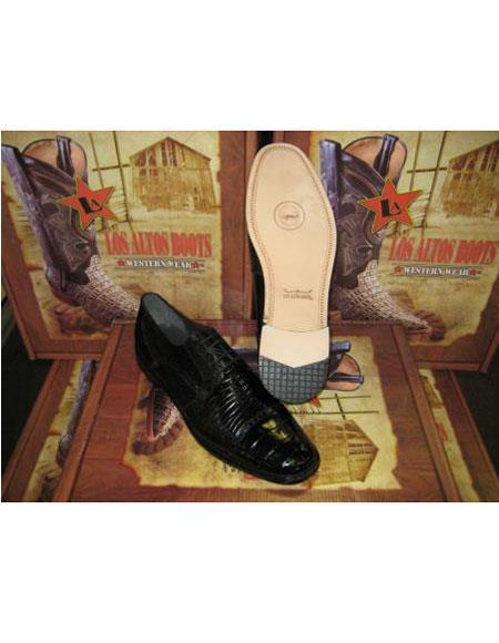 Genuine Authentic Liquid Jet Black cai ~ Alligator skin Belly & Teju Lizard Dress Shoe