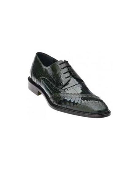 Product# PN_P65 Belvedere attire brand Nino Dark Liquid Jet Black Genuine Eel / Ostrich Leg Shoes for Online
