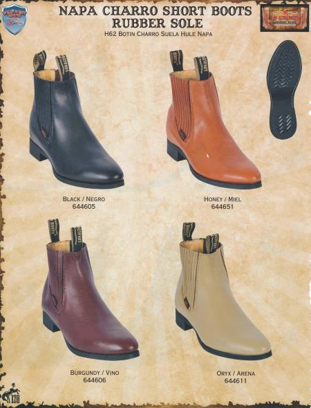 Product# 3GY Wild West Napa Charro Short Western Boots w/ Rubber Sole Diff.Colors/Sizes Black/Honey/Burgundy/Oryx
