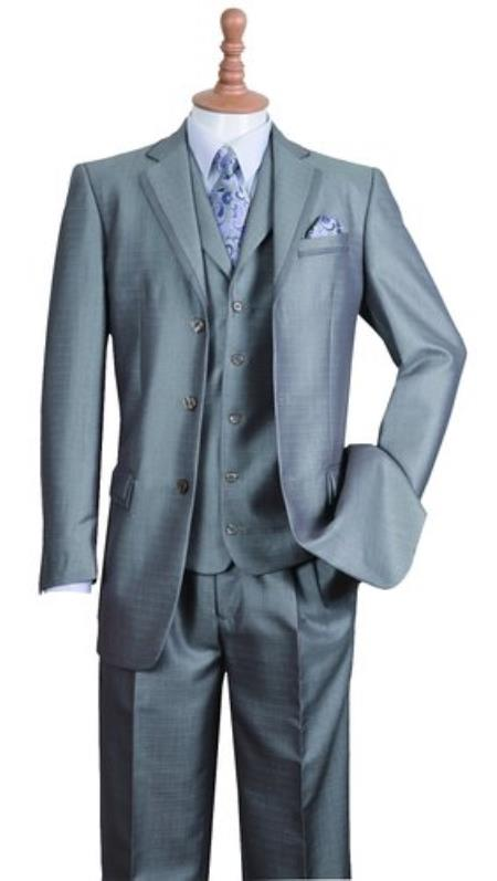 Product# SS-65 Silver 3 Button Style Notch Lapel Fashion Suit For sale ~ Pachuco Mens Suit Perfect for Wedding Edged Jacket w/ Pants Vest Set