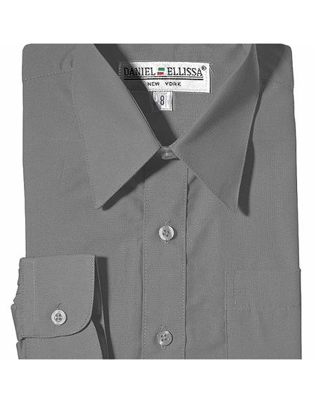 Product# JSM-4775 Boy's Daniel Ellissa One Chest Pocket French Cuff Silver Dress Shirt